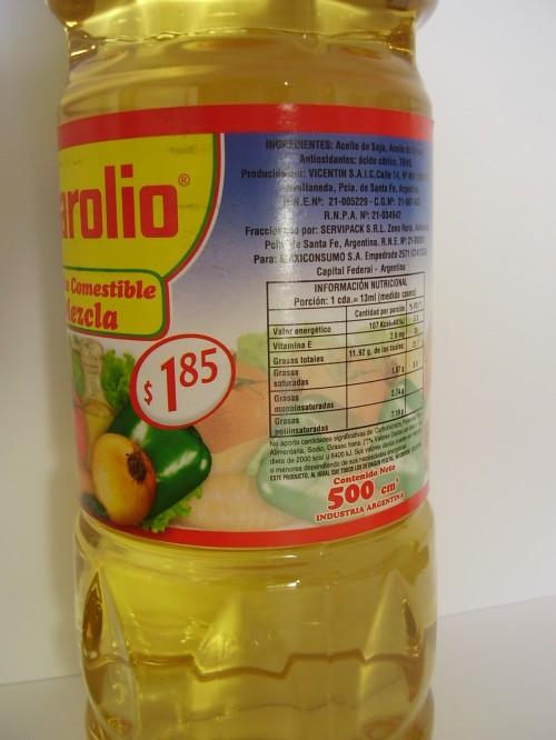 aceite Marolio de 500cm3 a $1,85